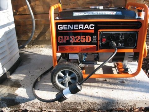 Backup generator shown using 15 amp outlet.
