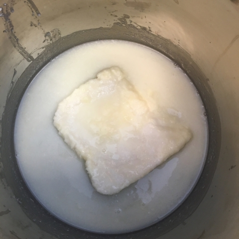 Miss Clyde's frozen goat milk melting as sodium hydroxide is added.