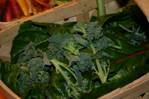 Broccoli crowns and chard.