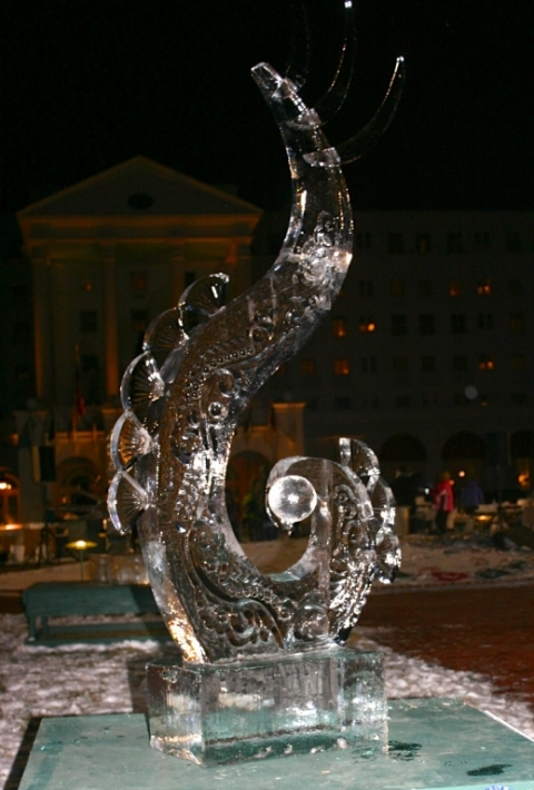 Ice sculpture at Winterfest at the Greenbrier Hotel, January 26.