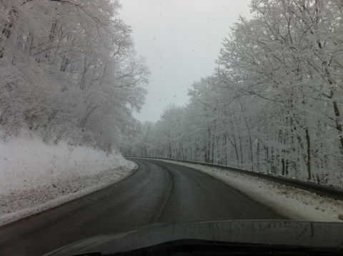 Driving home over Cheat Mountain. March 2.